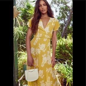 Heart of Marigold yellow floral wrap maxi S